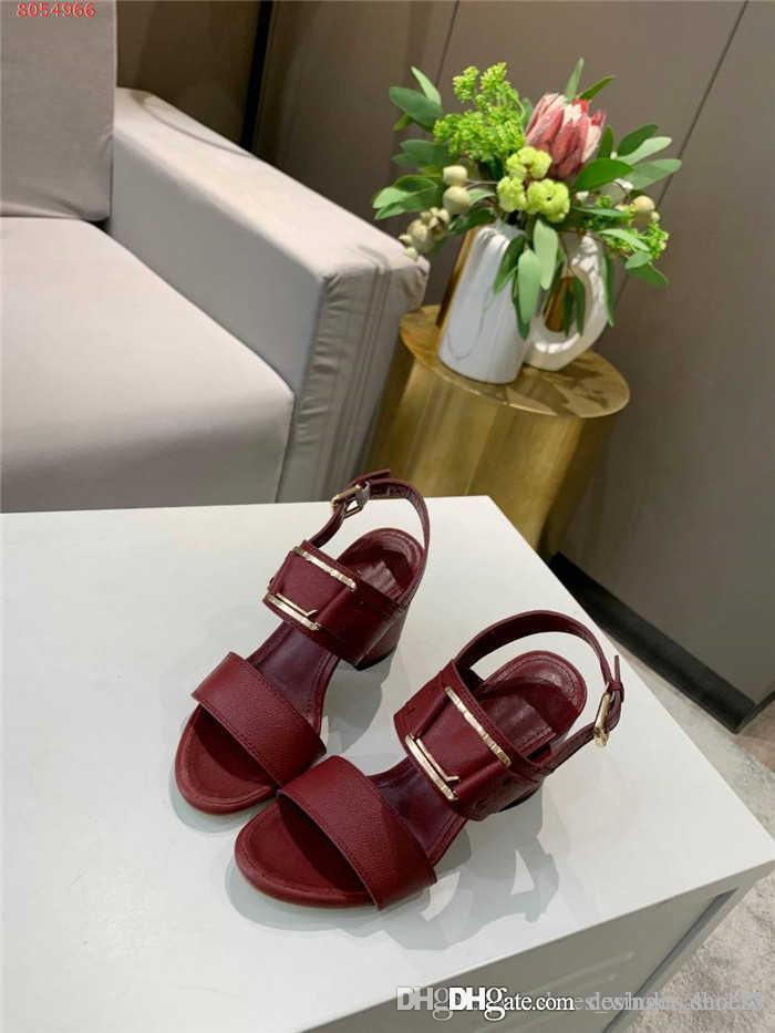 Été nouvelles sandales en cuir de couleur unie, dames cravate droite boucle carrée talons épais, hauteur du talon de 7,5 cm d'emballage complet 35-41