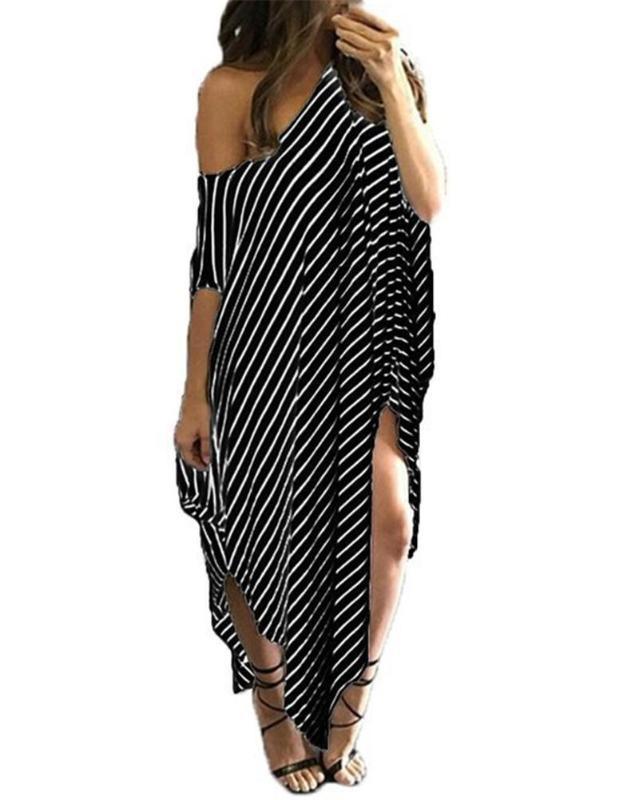 Dresses Fashion Irregular Stripe Print Dew Shoulder Womens Designer Dresses Casual Females Clothing Sexy Womens Casual