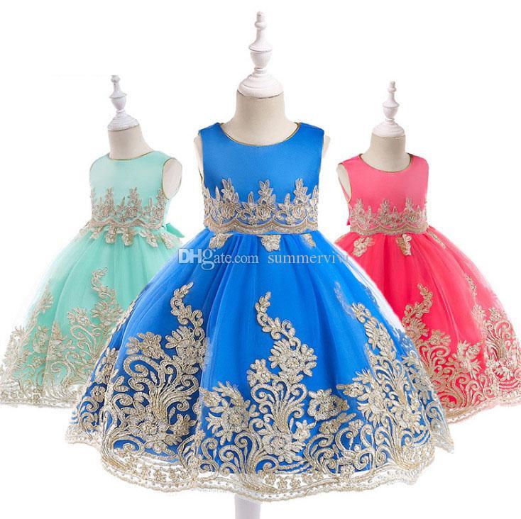INS Girls wedding dress kids gold lace gauze embroidery princess dress palace style children Bows belt sleeveless party dress F4526