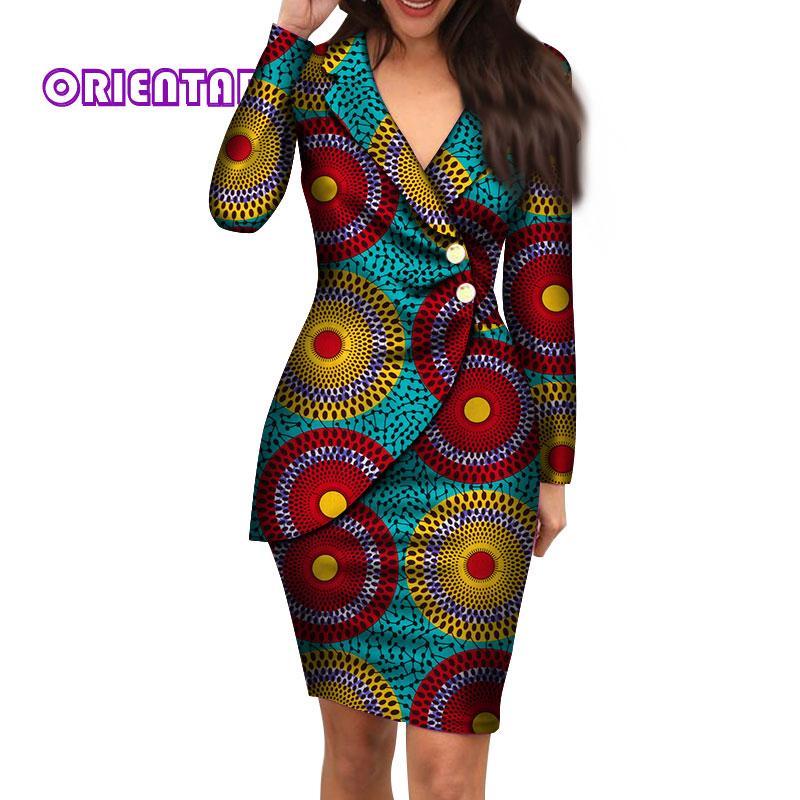 الخريف فساتين الأفريقية للنساء الأزياء مكتب نمط الخامس الرقبة طويلة الأكمام ميدي اللباس بازان الثراء الأفريقية طباعة الملابس WY4052