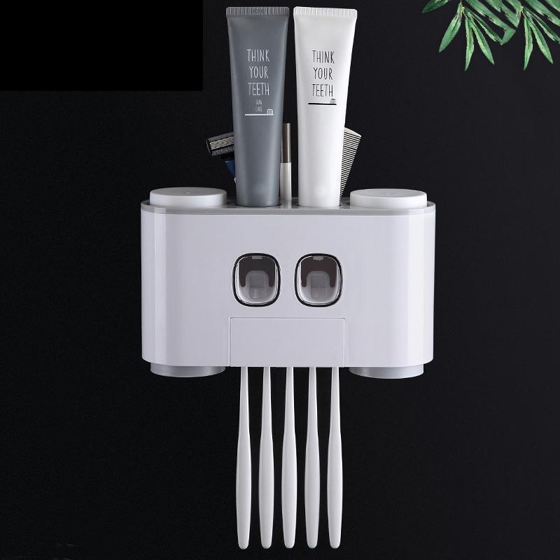 벽 착취 AODMUKI 욕실 자동 치약 디스펜서 치약은 칫솔 홀더 욕실 액세서리 세트를 장착