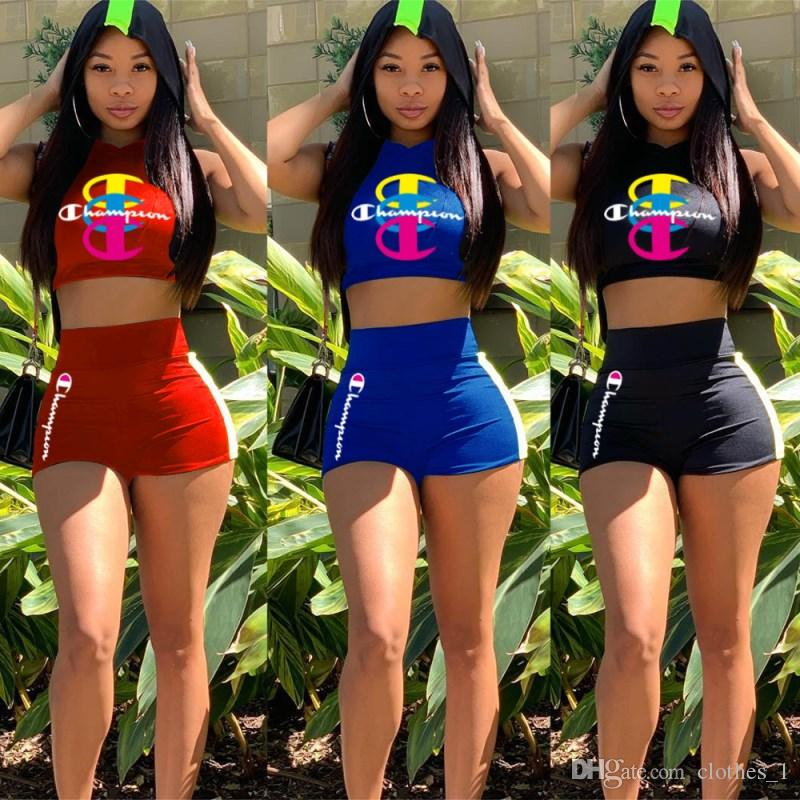 Champion womens 2 piece set tracksuit shirt pants outfits sleeveless shirt pants sweatsuit pullover tights sportswear sports suit klw1045