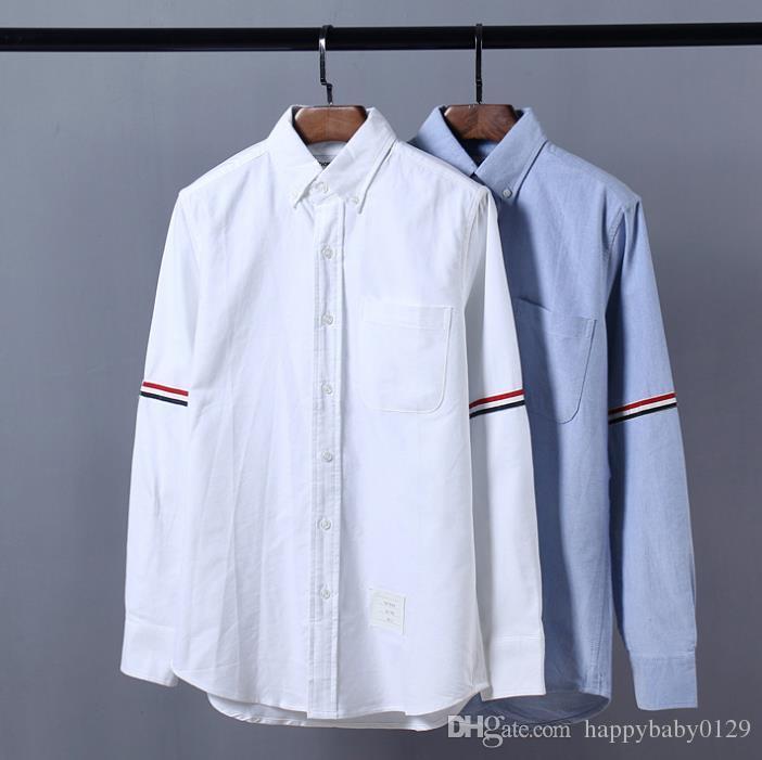 mens designer thom t chemises browne TB classique double manche chemise de mode à manches longues Tri Color Ribbon THOM pour homme casual tshirt
