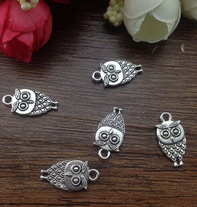 Tibet Gümüş Takılar Baykuş Kolye 10x18mm Yapma Fit Avrupa Takı Bilezik Kolye Küpe Moda Erkekler Kadınlar Aksesuarları 100 Adet