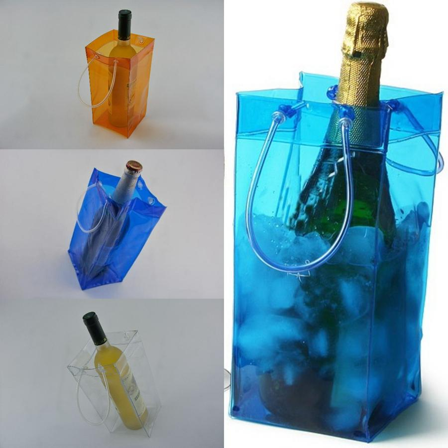 Durable Transparent PVC Champagne Wine Ice Bag 11*11*25cm Pouch Cooler Bag with Handle Portable Clear Storage Outdoor Cooling Bags OOA5117