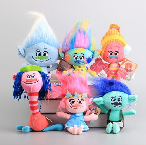 Alta Qualidade 6 Pcs / Set Trolls Plush Toys Magia Cooper Cabelo Poppy DJ Suki Harper Guy Diamante Stuffed Dolls caçoa o presente 25-28 CM Y200703