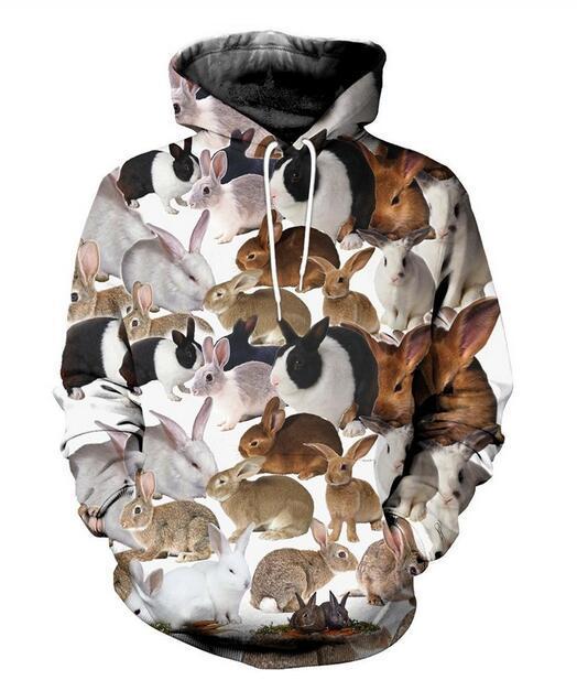 Оптово-Новой мода Прохладного Толстовка Толстовка 3D печати женщины людей вскользь кролика горячего Streetwear Одежда K0234