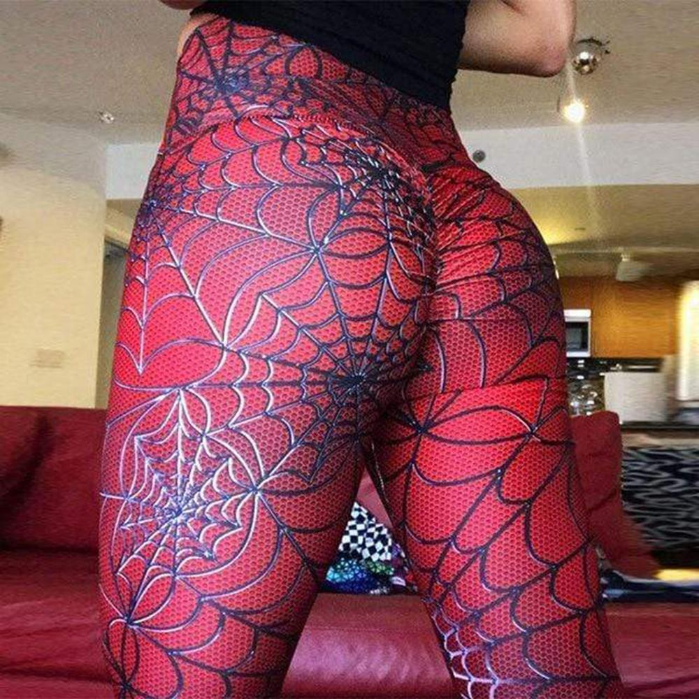 Spinnennetzmuster Digital Pringting Red Sportswear Skinny Leggings Neue Workout Cobweb High Waist Elastic Force Fitness Leggings