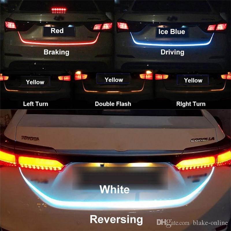 RGB السيارات أدى شرائط ضوء الفرامل القيادة إشارة عكس الإضاءة جذع سيارة إشارات تدفق الشريط أضواء dars الذيل الخلفية إشارة مصباح 12 فولت