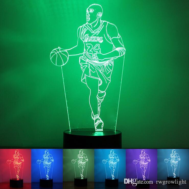 Lámpara de luz LED de la noche Basket Ball 3D Visual Ilusión Luz de acrílico transparente Color 7 que cambia táctil niños y regalo de la lava noche de la tabla de la lámpara