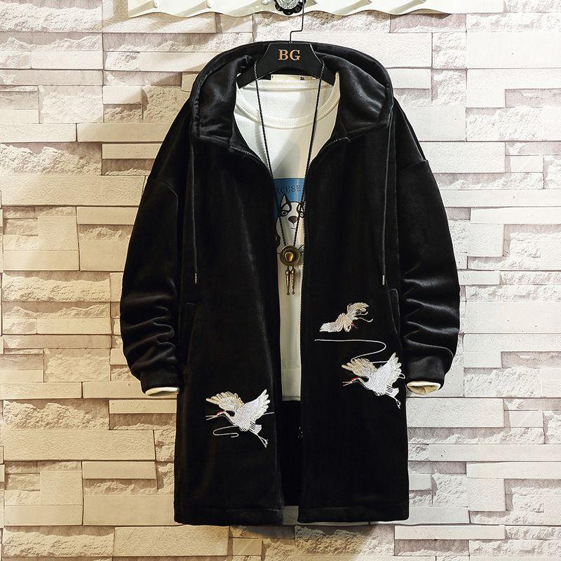 남성 트렌치 코트 Pleuche Double-Deck가 따뜻한 오버 코트 긴 재킷 코트 남성 겨울 재킷