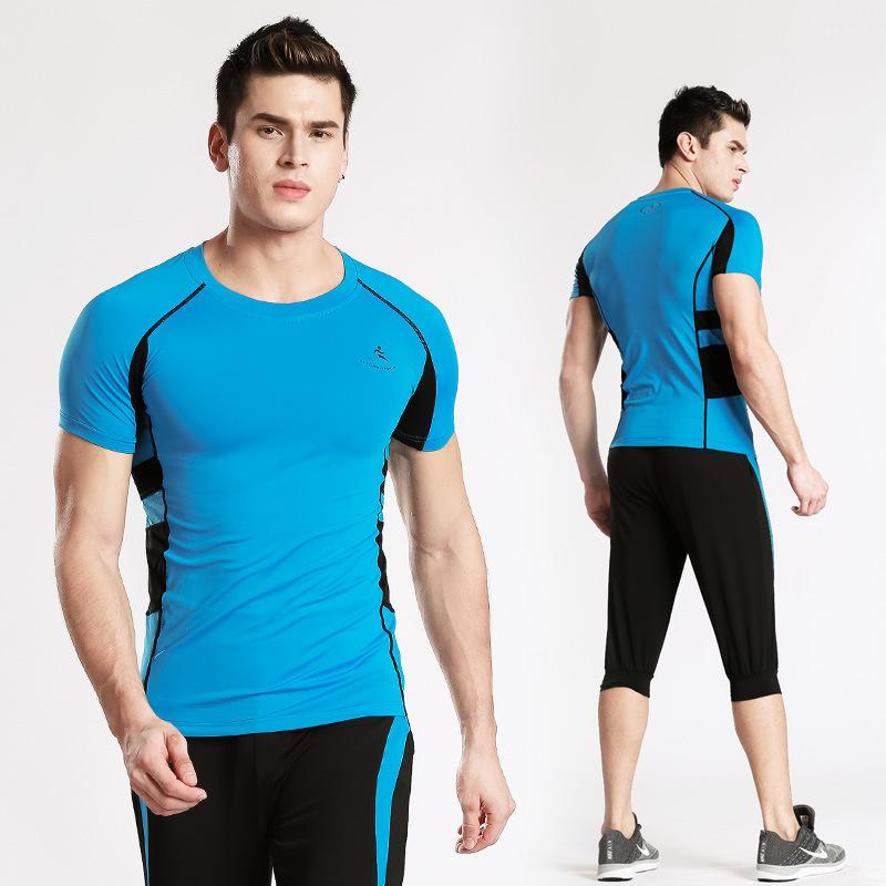 Tight Fit Sportswear Male Short Sleeve Training Clothing Gym Speed Dry Elastic Force Running Clothing Suit
