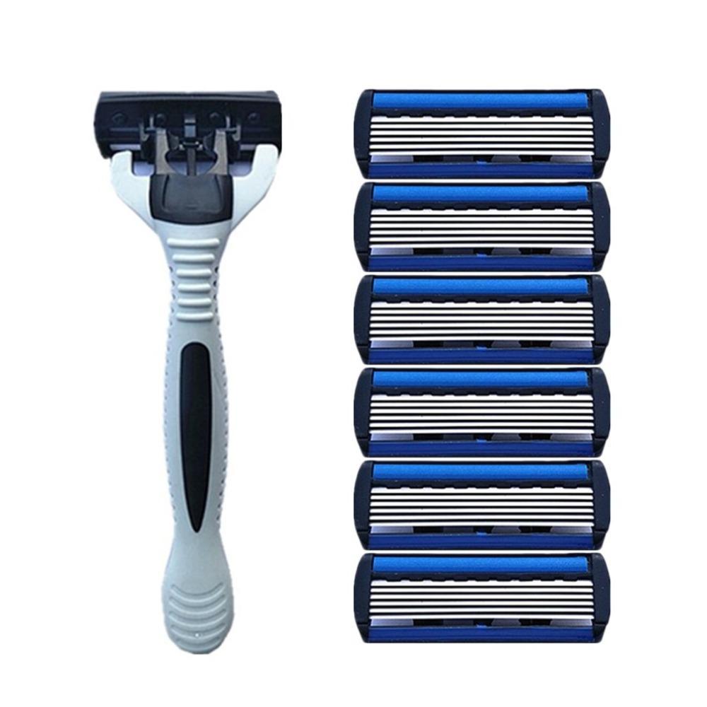 1 + 4 Set Combo Uomini di sicurezza Classic tradizionale 6 strati di rasatura dei capelli lama di rasoio manuale in acciaio inox rasatura dei capelli della lama del rasoio per l'uomo