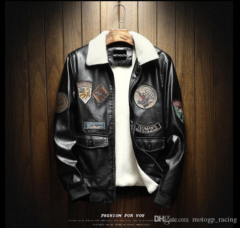 For MOTOGP Embroidery Jackets Mens Slim Fit Casual Outerwear Retro Jacket Windbreaker PU Motorcycle Leather Jackets Male Man Keep Warm Coat