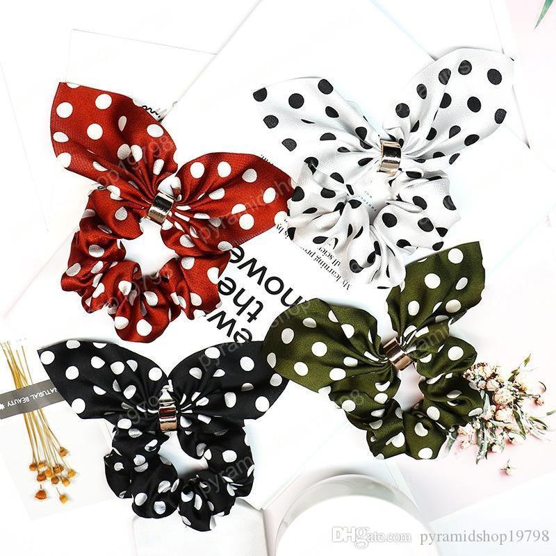 4 donne di colore delle ragazze POLKA DOTS anello elastico in tessuto cravatte per capelli accessori porta coda di cavallo fasce per capelli elastico scrunchies orecchie da coniglio floreali