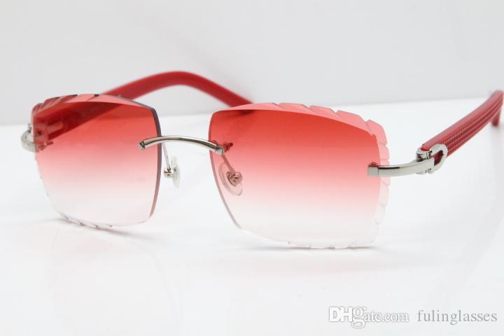 Superior-Lieferanten Randlos Brillen Frauen-Rot Aztec SunGlasses Hot Metal Mix Arme 3524012 SunGlasses Unisex Arme Sonnenbrille neue geschnitzte Linse