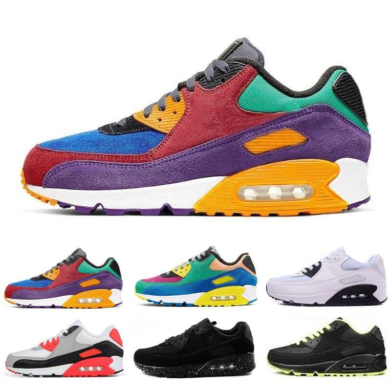 90 년대 도매 패션 남성 스니커즈 클래식 (90) 남자와 여자 실행 신발 스포츠 트레이너 쿠션 (90) 표면 통기성 스포츠 신발 신발