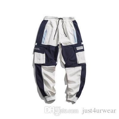 Mens Ins Hot Sell Fashion Cargo Pants Panelled Hip Hop Street Pants Seasons Casual Loose Long Male Pants