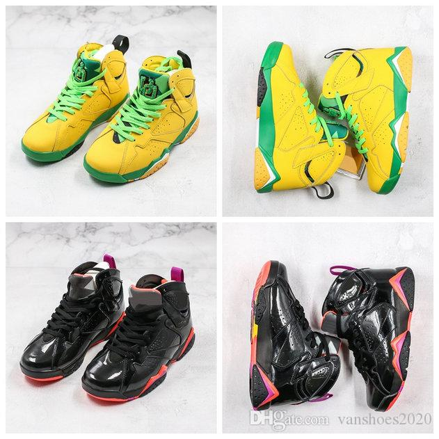 Basketball Shoes 7s Patent Leather Halloween Chaussures Mens 7 Yellow Green Homme Men Shoes Black Red scarpe firmate AT3375-300 US 7-12