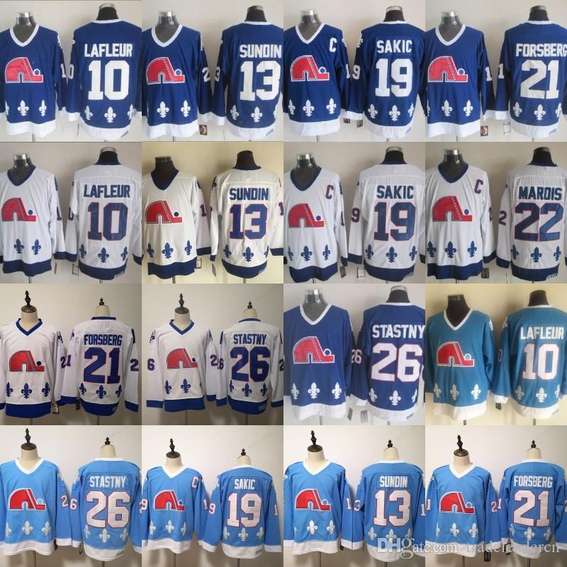 빈티지 Quebec Nordiques 10 Guy Lafleur 21 Peter Forsberg 13 매트 Sundin 19 Joe Sakic 26 Peter Stastny White Baby Blue Ice Hockey Jerseys