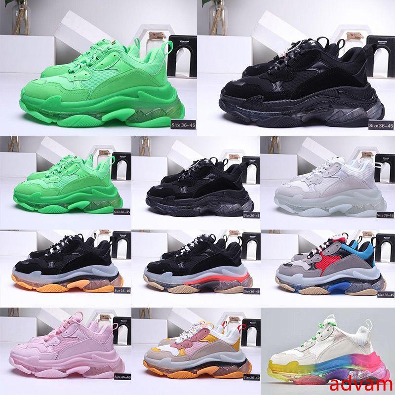 2020 moda calçados casuais Platform 17FW Triple-S pai para de Homens Mulheres Preto Verde Sports Luxury Designer Triple S Vintage Shoe Size EUR 36-45