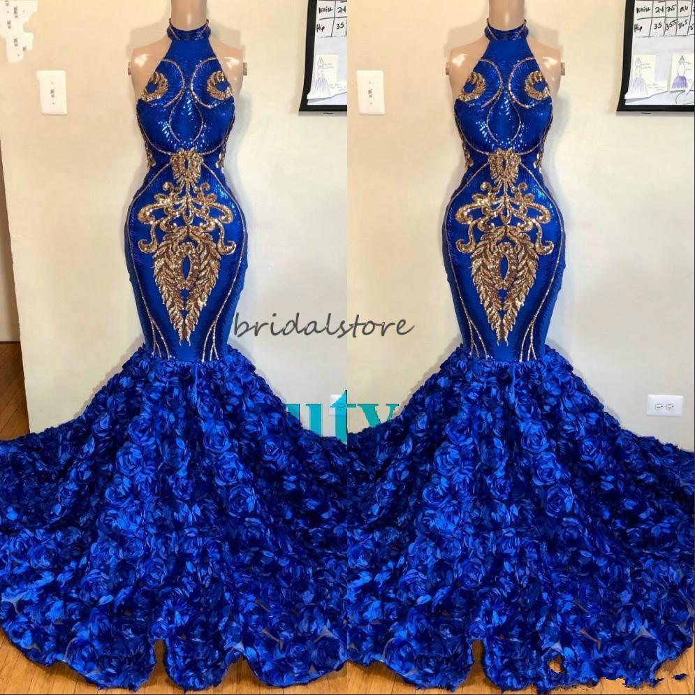 Африка Royal Blue Русалка Пром платья с розовым Цветочные Холтер Плюс Размер Формальные вечернее платье Спарк пришивания аппликация Платье де Fiesta
