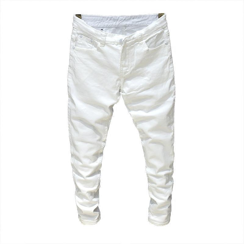 nuovo concetto 5f9c0 7c118 Acquista 2019 Jeans Uomo Stretch Jeans Bianchi / Neri Di Moda Pantaloni  Primavera E Autunno Maschili Jeans Casual Da Uomo Taglia 27 36 A $27.8 Dal  ...