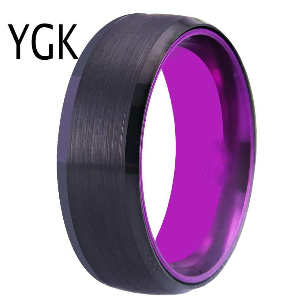 Wedding Band Rings For Women Classic Tungsten Rings Black Tungsten with Purple Aluminum Engagement Ring Free Custom Engraving