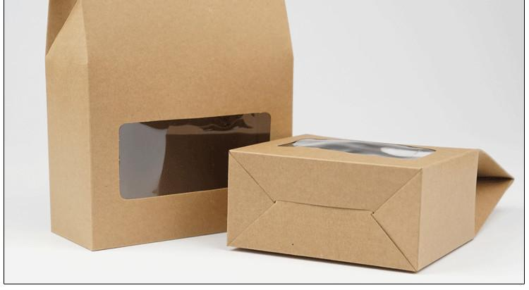 8 * 15.5 * 5cm 친환경 브라운 파티 건조 식품의 경우 투명 창 크래프트 종이 소매 포장 상자와 가방 Doypack 파우치 일어나