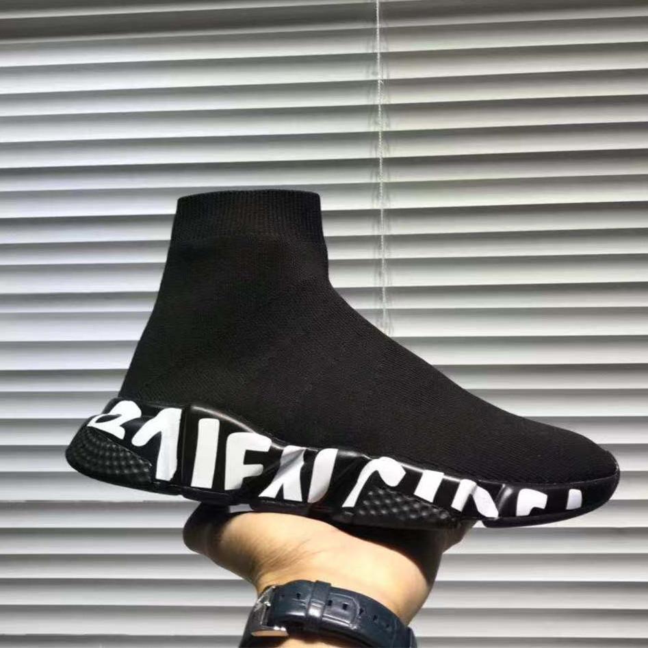 Sıcak Tasarımcı Sneaker Hız Eğitmen Siyah Beyaz Erkek Kadın Çorap Ayakkabı Casual Bot Hız Runner ile Toz Torbası