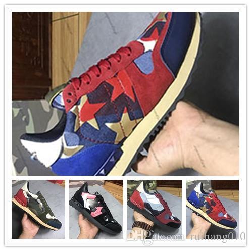 Yüksek Kalite Yeni Moda Kamuflaj Çiftler Ayakkabı Kadınlar Erkek Deri Spike Perçin Günlük Ayakkabılar Sneakers Ucuz Lüks Tasarımcı Sneakers 0j92