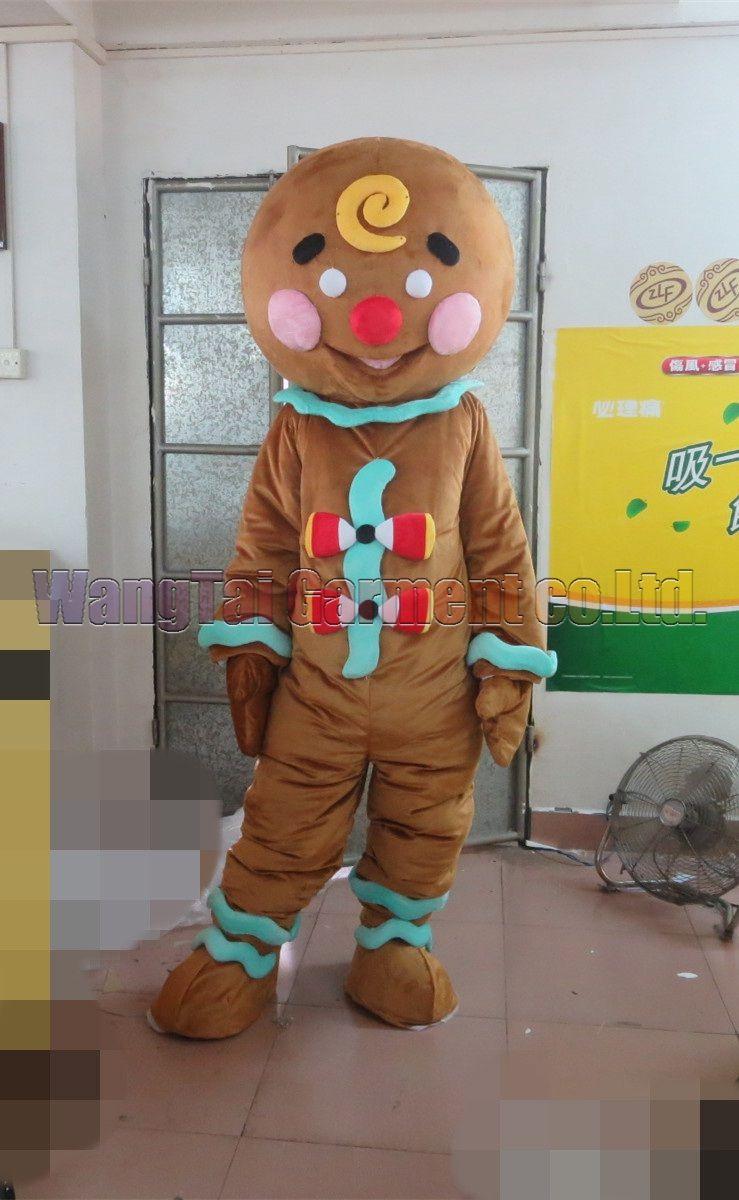 Hohe Qualität Der Lebkuchen-Mann-Maskottchen-Kostüm-Karneval Zweig Parade Qualität Clowns Halloween-Party-Aktivität Fancy-Ausstattung Verschiffen frei