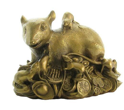 Bir bakır bakır el sanatları şanslı genç sıçanlar Zodyak sıçan ve oturma odası dekorasyon dekorasyon
