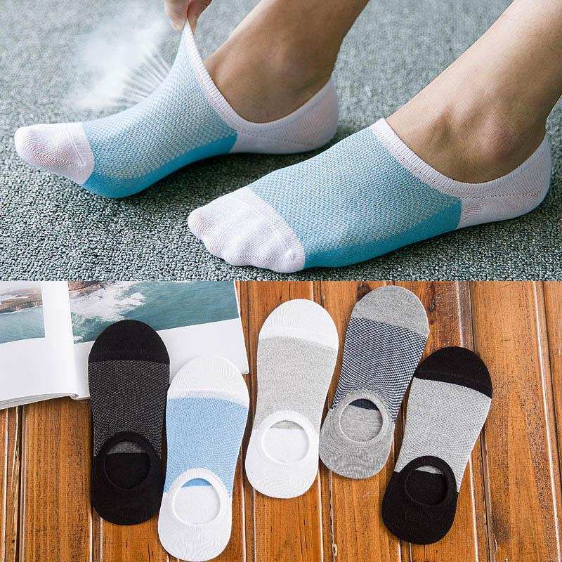 5 Paare neue Art und Weise der Bambusfaser-Anti-Rutsch-Silikon unsichtbare Boots-Kompressionssocken Male Söckchen Männer Meias Socken aus Baumwolle Hot