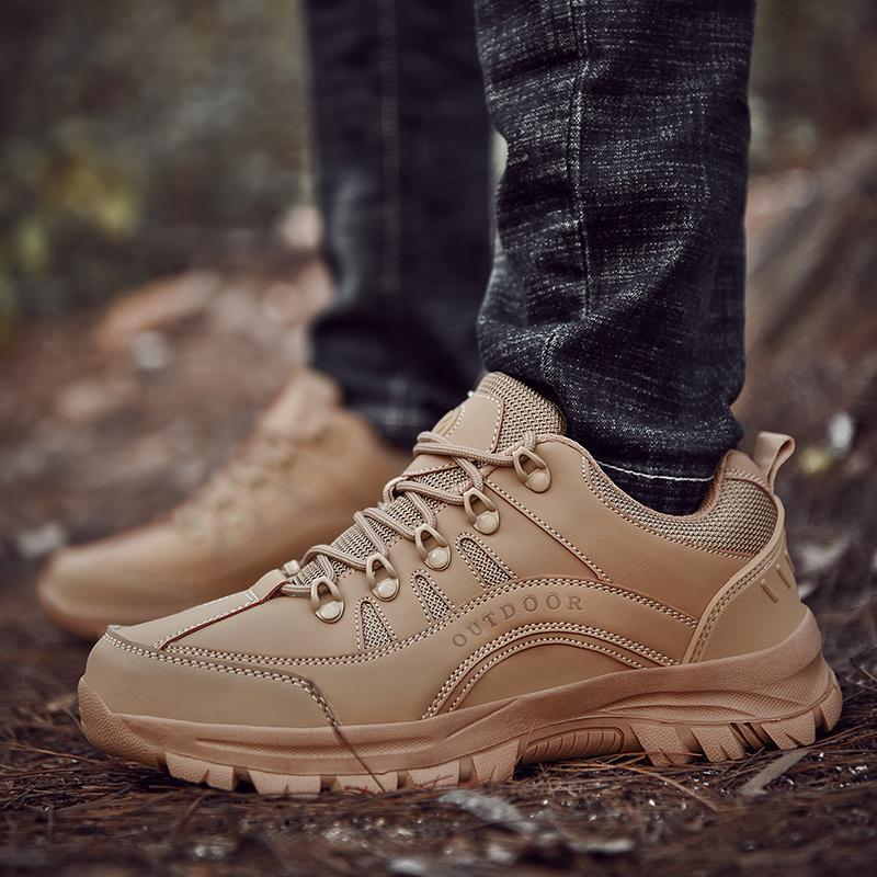 Primavera / Outono Homens Caminhadas sapatos antiderrapantes Homens Esporte sapatos de boa qualidade Tamanhos Grandes Shoes Lace Up Ao Ar Livre Marca Mens