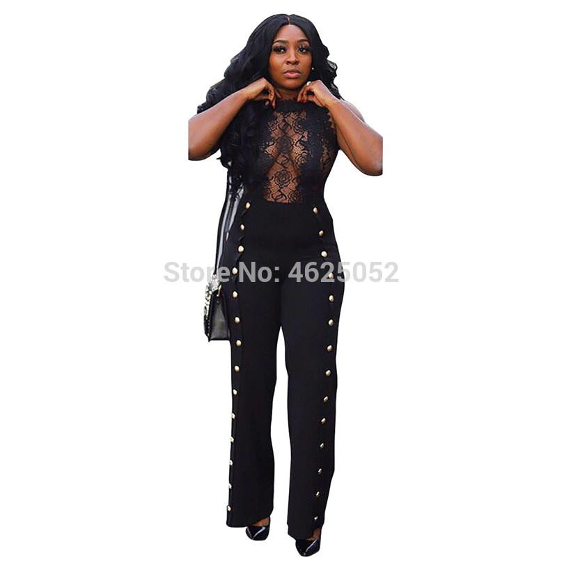 Sheer Lace Patchwork Métal Boutons Combinaison O Cou Sans Manches Femmes Sexy Barboteuse Jambe Large Pantalon Night Club Outfit Overall