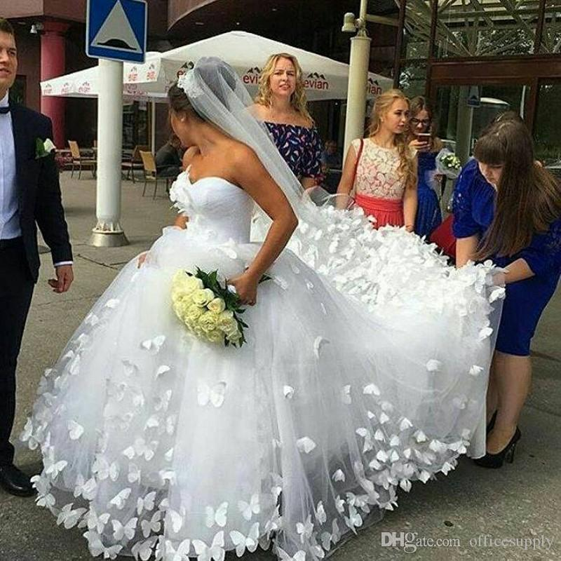 2020 novia vestido de Noiva romántica hinchada cordón de nuevo vestido de novia de la boda vestidos de princesa con hecho a mano de la mariposa