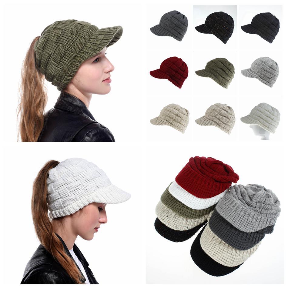 Les femmes Ponytail Base-ball d'hiver Beanies Femmes Bonnet chaud laine horsetai crâne Bonnet Crochet Ski Outdoor Cap LJJA2931