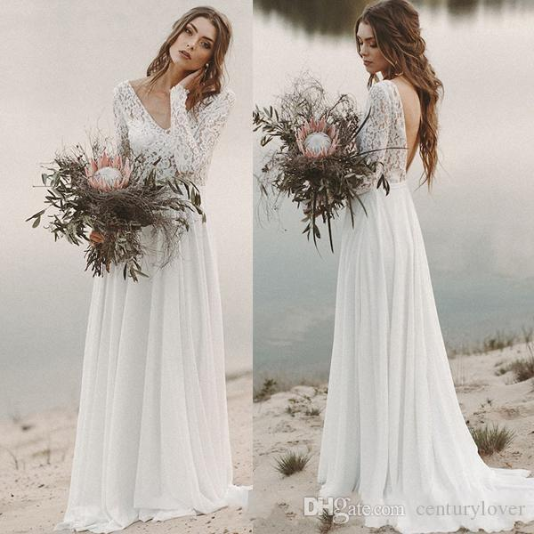 Newest A Line Wedding Dresses Summer Beach Country V Neck Lace Chiffon Long Sleeves Illusion Open Back Sweep Train Plus Size Bridal Gowns