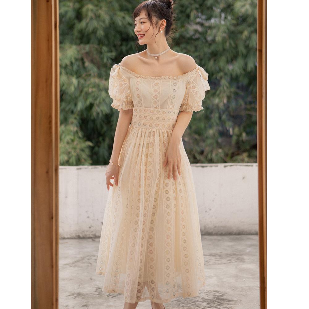 Elegantes Kleid Vintage Französisch Stil Schulterfrei Spitze Lange Hochzeitsdatum Party Prom Sommer Tägliche Mode Frauen Kleider 8035