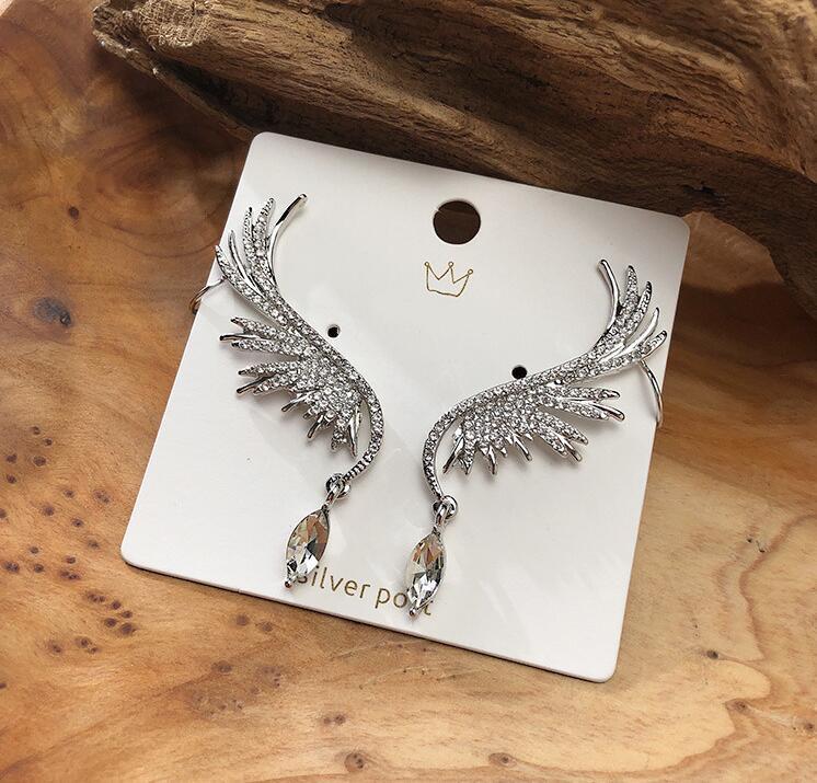 Fashion exaggerated full rhinestone earrings angel wing earrings drill ear bone clip