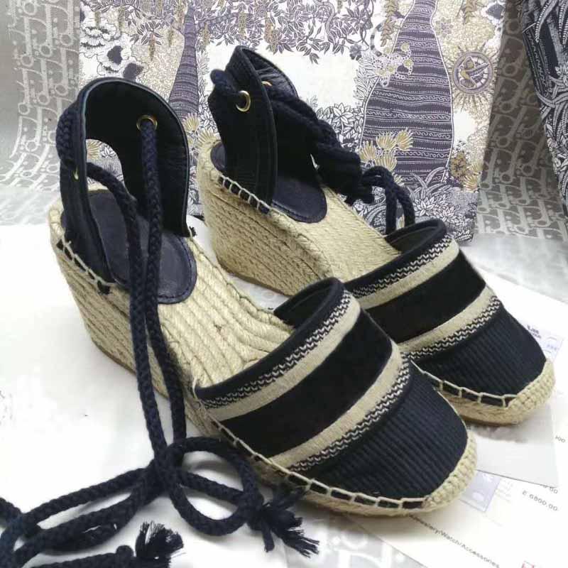 sandálias de salto alto estilo designer de moda senhoras da lona nova espessura inferior palha pescador cunha tecelagem sandálias praia do verão bordados strap