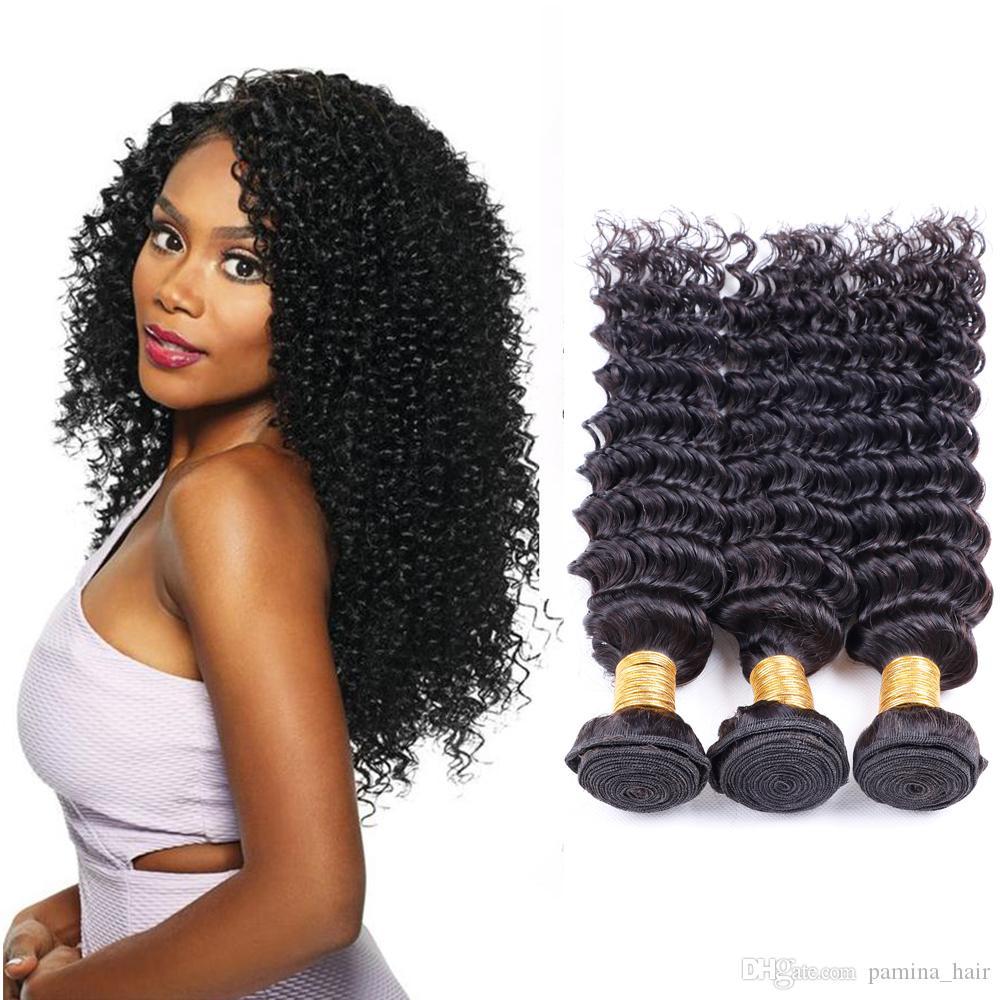 Pamina Indian Deep Wave Hair Bundles 8-30 Inch 100% Human Hair Weave 3/4 Bundles Natural Color Virgin Remy Hair Bundles
