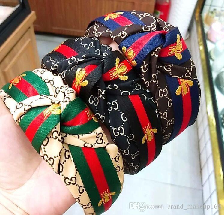 mulheres quentes da venda headband carta borda faixa de cabelo fita nó de largura pequena abelha simples hairband cabelo clipe pressão moda