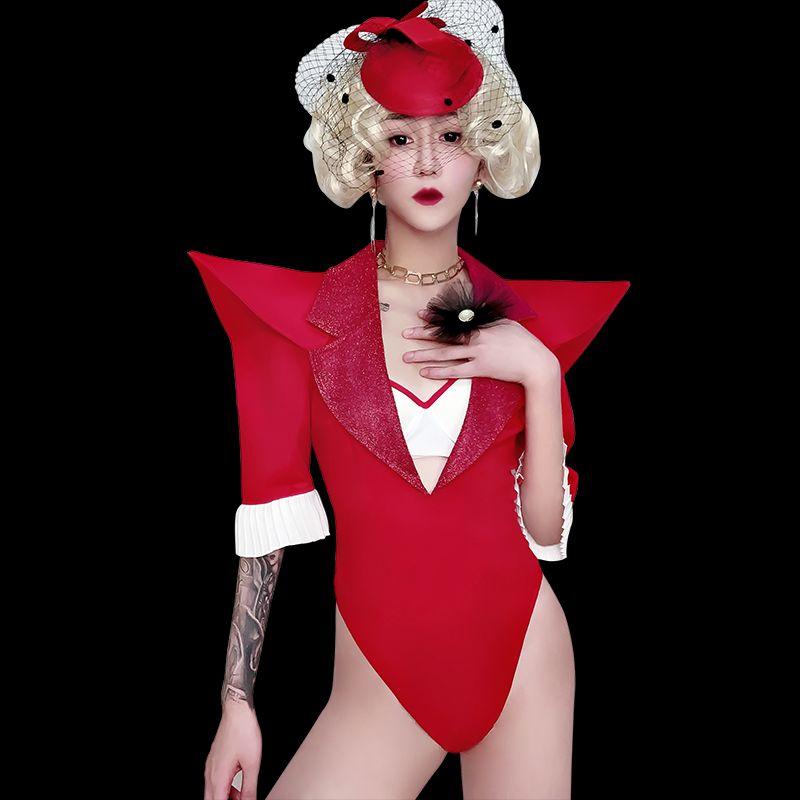 Costumi di scena Red DS costume per le donne Nightclub tuta GOGO ballo DJ prestazioni leader di danza costumi di scena di usura BL1480