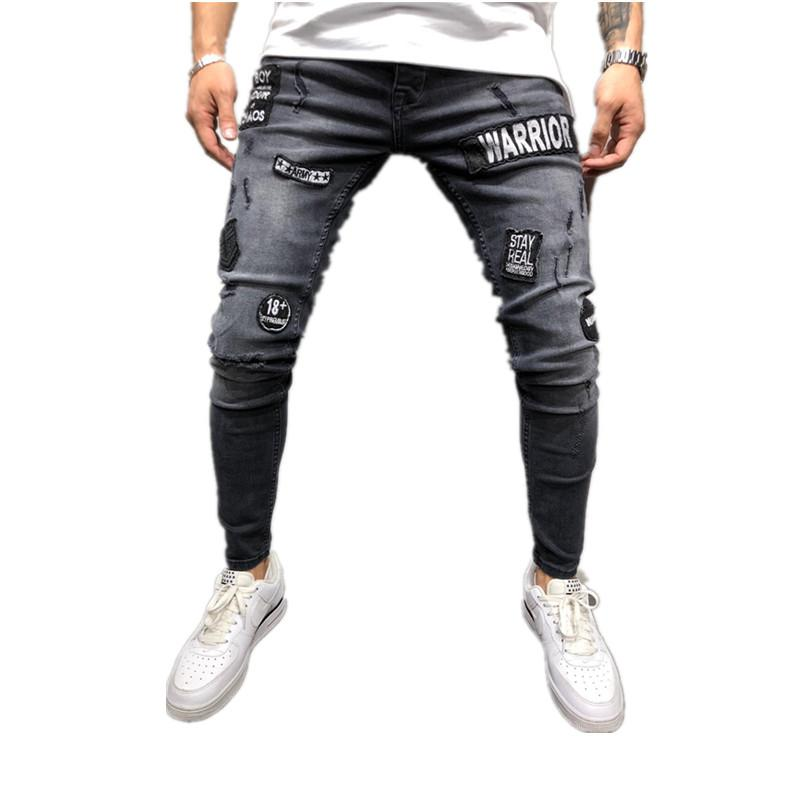 New Fashion Mens Skinny black Ripped Slim Fit Stretch Denim Biker Jeans male Embroidered Pencil Trousers