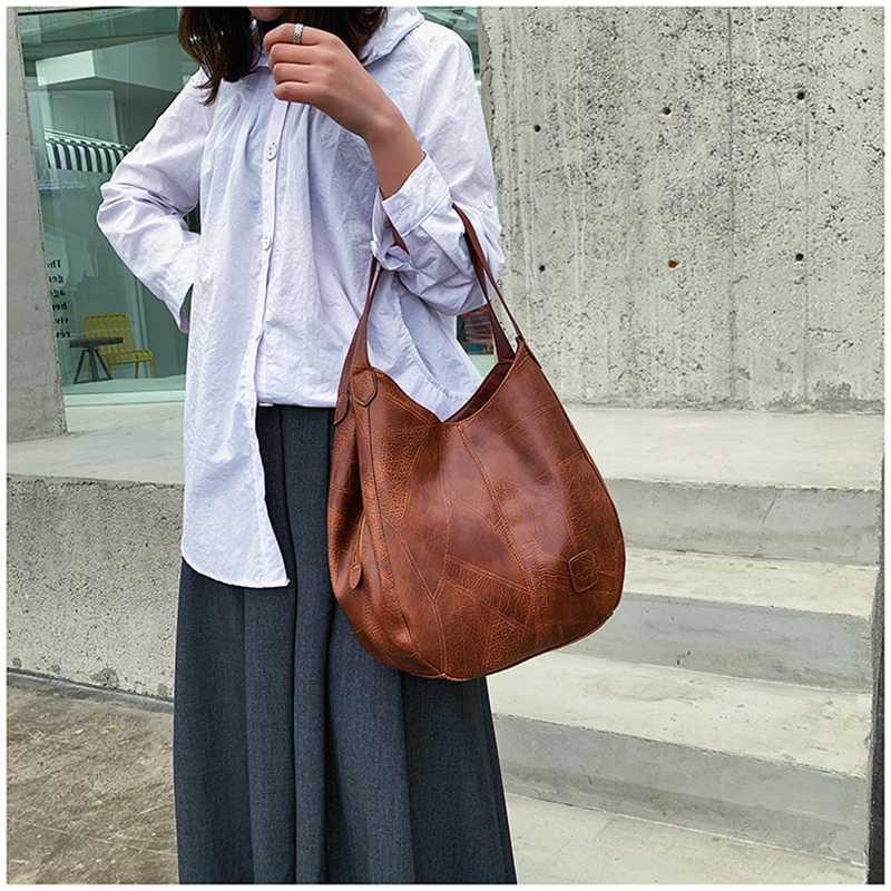 Lederhandtaschen, neue Art und Weise große Kapazitäts Lässige Vintage-Schultertasche Weibliche beiläufige Tote Messenger Bags für Frauen