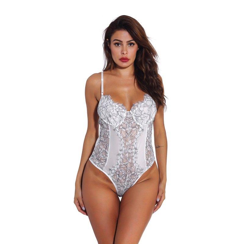 نساء الزفاف الأبيض مثير منتصف الليل الملابس الداخلية شير الزهور شبكة الرباط تيدي ارتداءها مع قابل للتعديل الأشرطة ملابس داخلية S-XXL