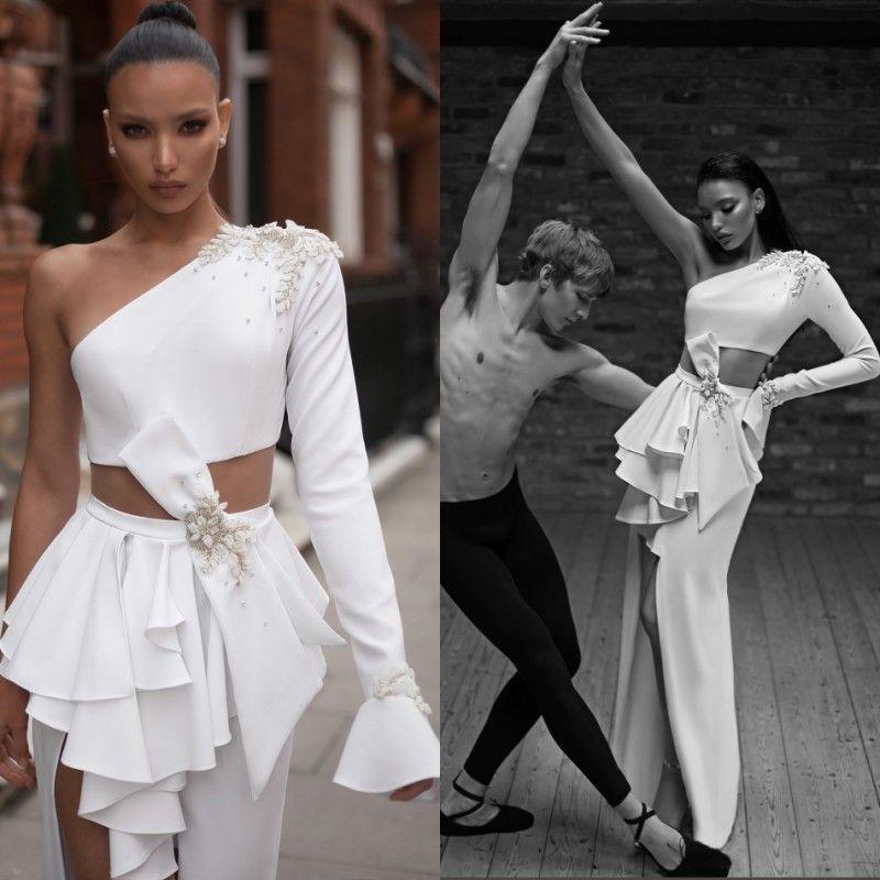 Charchy Two Pieces Wedding Dresses One Shoulder Long Sleeve Applique Beads High Split Satin Bridal Gowns Beach robe de mariée