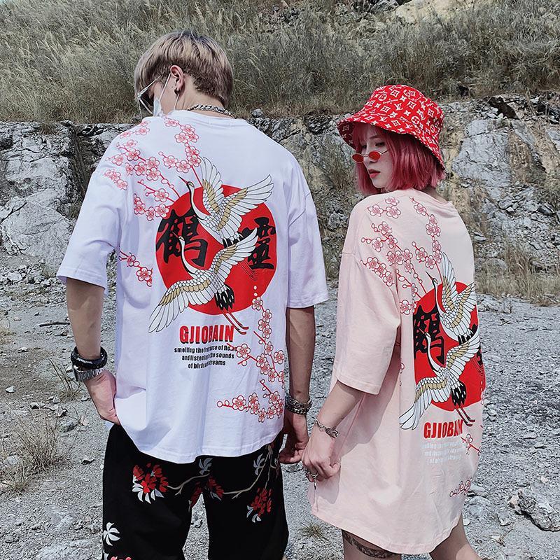 2019 d'été de haute qualité grue Sakura imprimé fleurs Chemise à manches courtes Casual Couple surdimensionné coton Harajuku T-shirt T Homme T200410